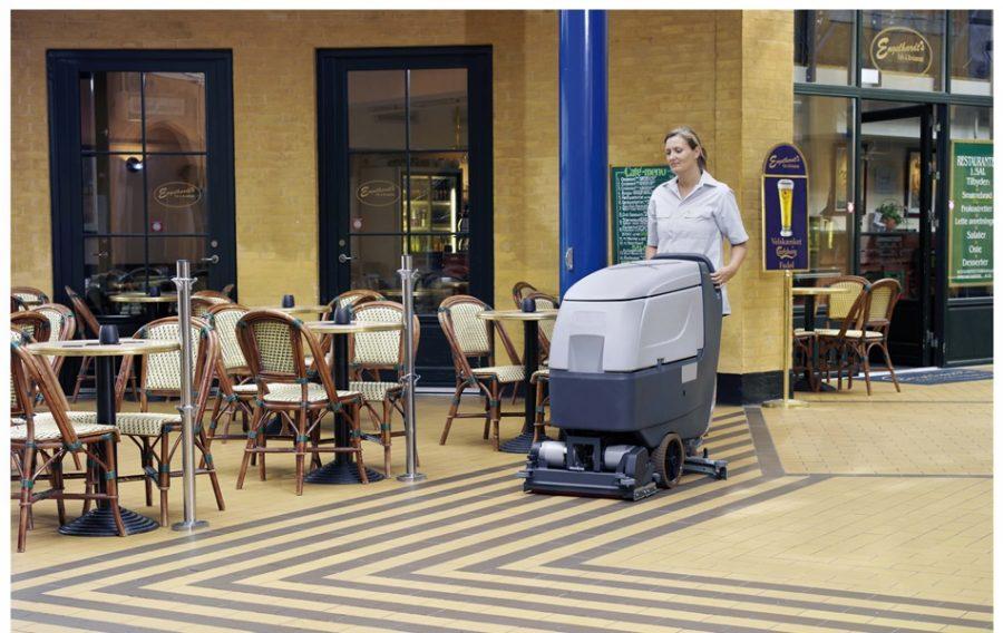 BA551 Industrial Pedestrian Scrubber-Dryer - In Action in Restaurant in large city