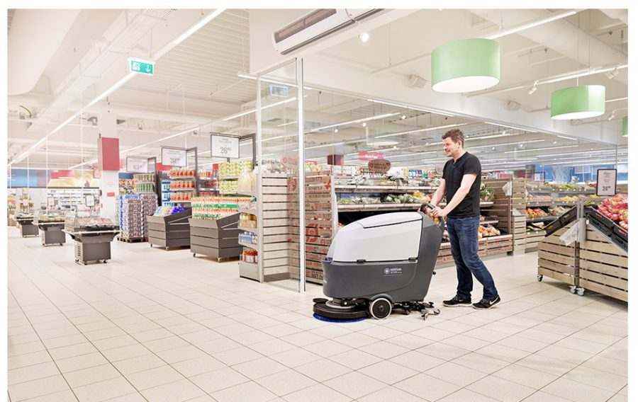 SC530 - Industrial Walk Behind Nilfisk Scrubber Dryer - In Action