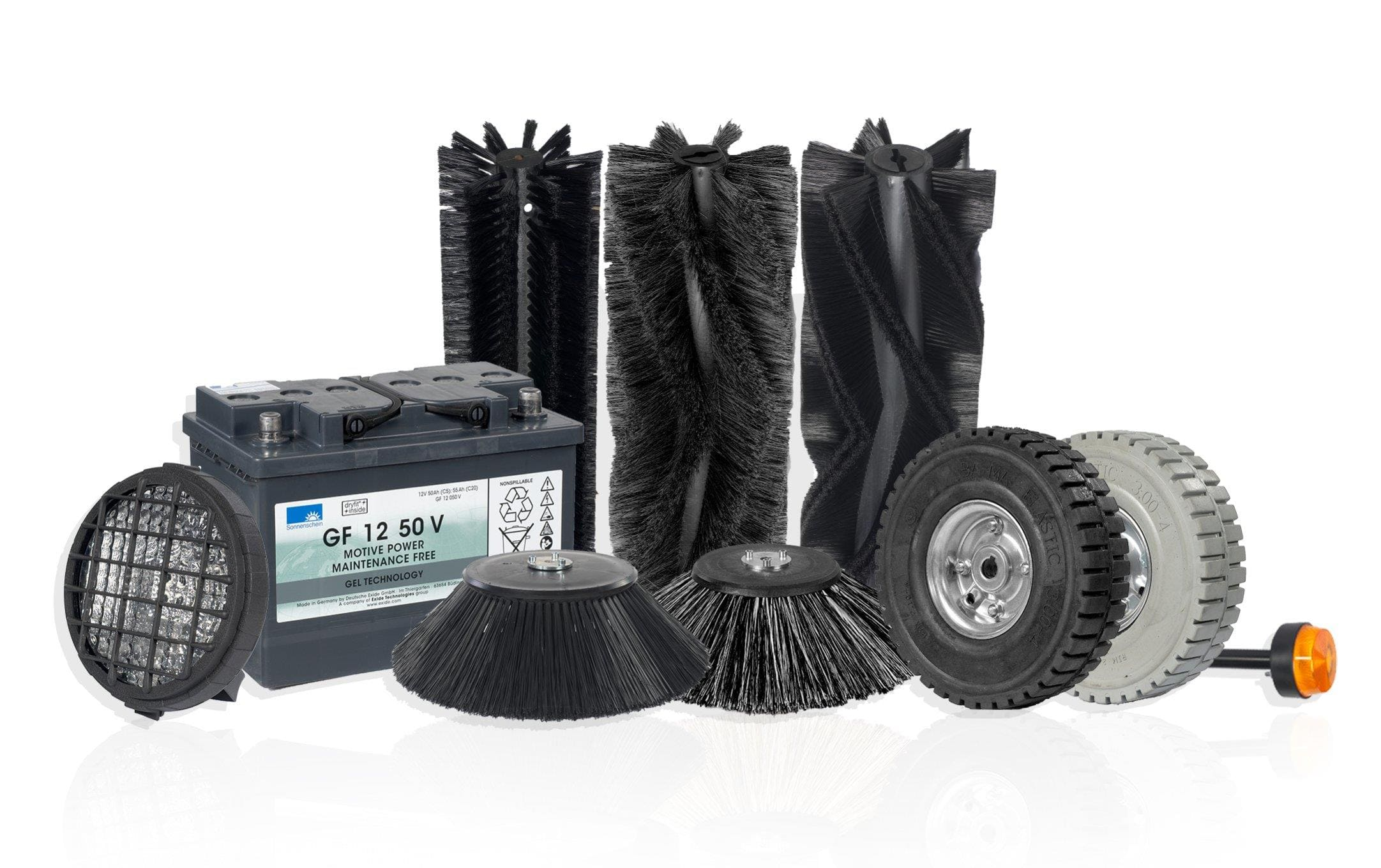 Replacement Consumables, such as brushes, wheels, batteries, lights, beacons, skirts, squeegee blades.